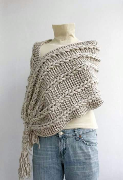 Knitting Accessories Australia : Hand knitted beige rectangle shawl over size long cable