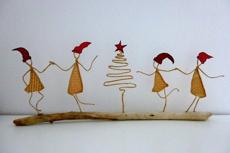 petits lutins de no l figurines en ficelle et papier christmas parties christmas. Black Bedroom Furniture Sets. Home Design Ideas