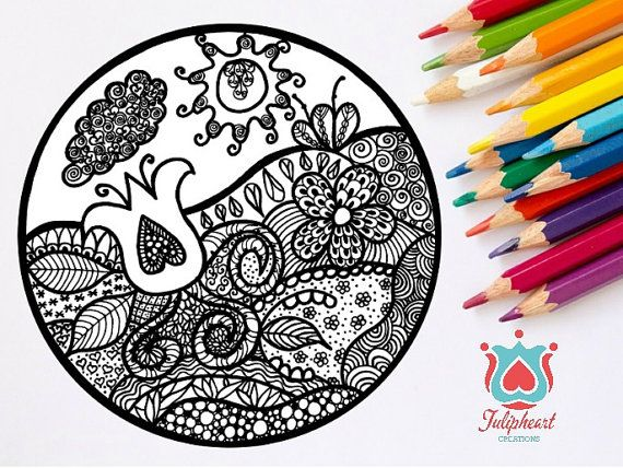 Adult Colouring Page Zentangle Magical by tulipheARTcreations