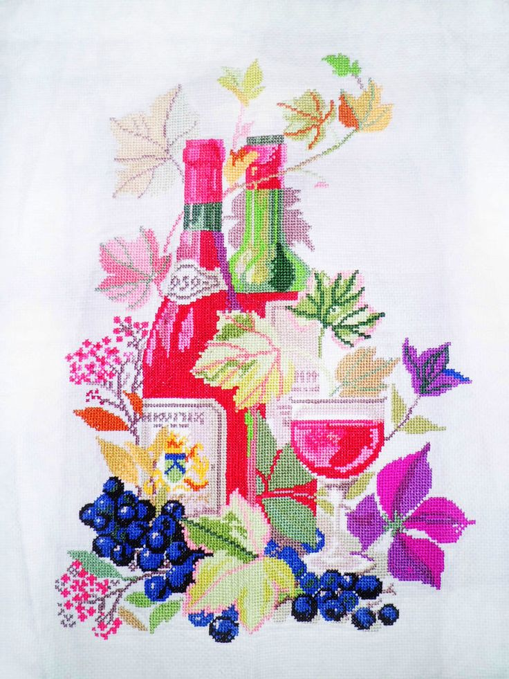 New Completed Finished Cross Stitch A Glass Of Wine Life Design Size: 12*18inch