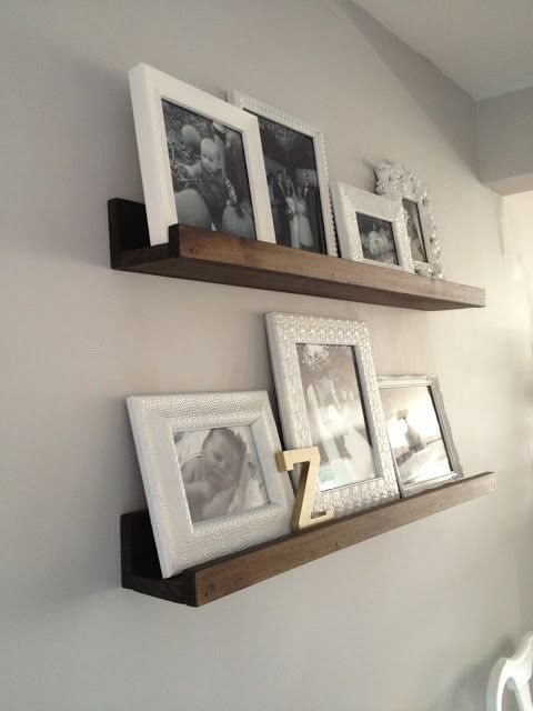 $20 DIY Wood Shelves, all white frames, black & white photos