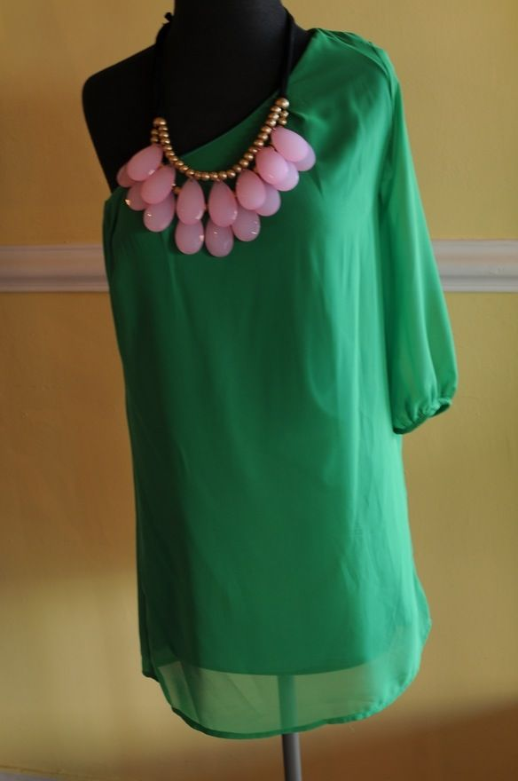 : Fashion, Style, Statement Necklace, Dream Closet, Green, Dress, Outfit, Dreamcloset