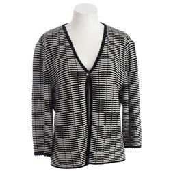 St John Collection by Marie Gray Black & White Cardigan Sweater - $149.99: White Cardigan
