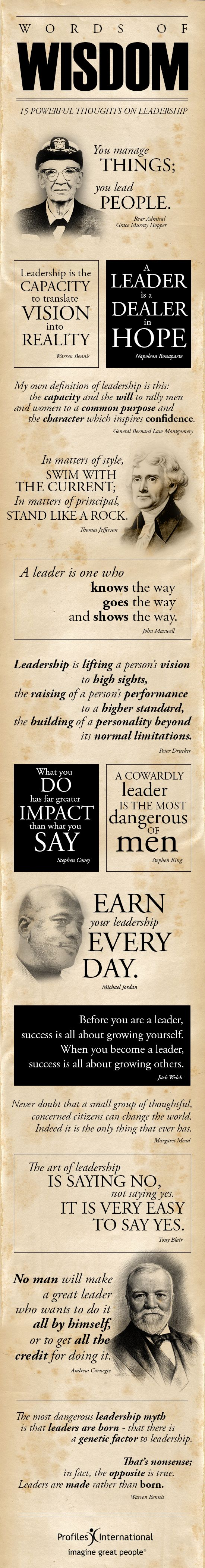 Words of Wisdom: 15 Powerful Thoughts on Leadership More on Http://info.profilesinternational.com