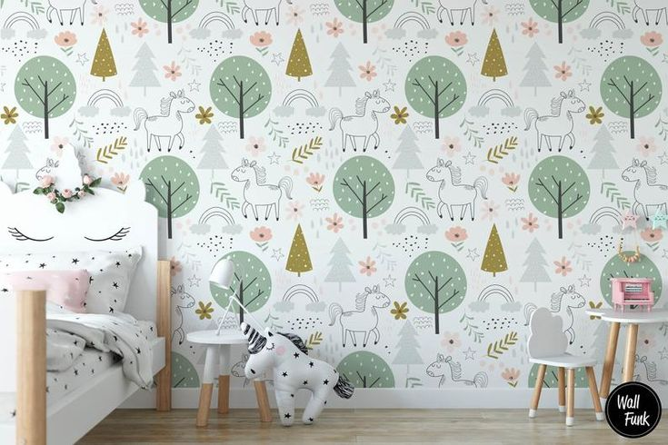 Unicorn Nursery Wallpaper Pre Pasted Unicorn Removable Etsy in 2020 Nursery wallpaper Kids