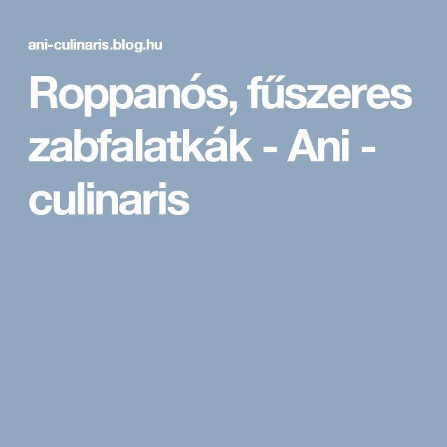 Roppanós, fűszeres zabfalatkák - Ani - culinaris