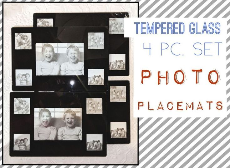"""New! Hawthorne Set of 4 Tempered Glass Photo Placemats,  8"""" x 12"""" RARE! #Hawthorne"""