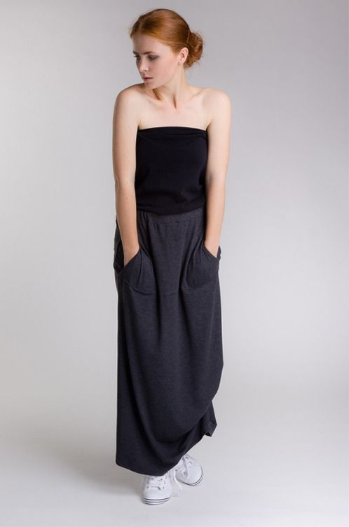 "https://www.cityblis.com/4005/item/14599 | Skirt - $100 by SheMore | Long skirt with asymmetrical bottom. Features a wide central pocket with pleated openings on each side. On one side of the skirt there is an interesting puckering ""water effect"" feature. Ideal for many occasions.  Fabric composition: 94% viscose, 6% elastane. Length: 85 cm Waist: 37 c... 
