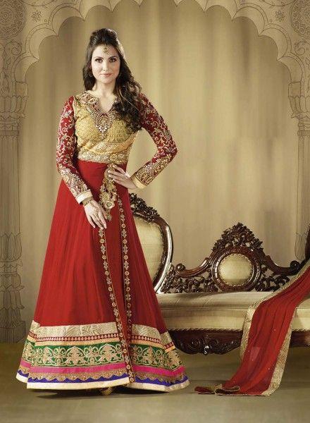 Buy Bollywood Red Abaya Style Lara Dutta Anarkali In Georgette $142.05 . Shop at - bollywood-ankle-length-anarkali.blogspot.co.uk/2014/07/buy-bollywood-red-abaya-style-lara.html