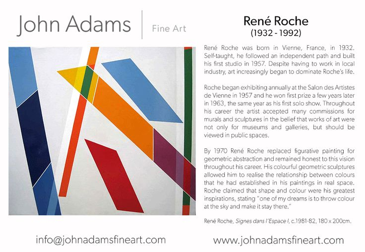 October is upon us, so here's our new newsletter! In answer to the Kazimir Malevich Retrospective at Tate Modern this month, meet René Roche.