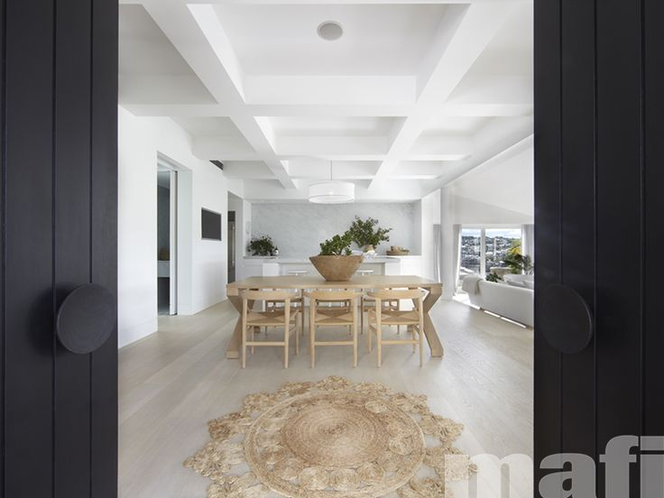 Mafi wood floors in Oak Clear Lye Treated Brushed White Oil were used throughout the newly designed home by BKH Architects, including the open plan living space and kitchen, rumpus room, hallways as well as for the stair treads and risers. Photo by Sharrin Rees.