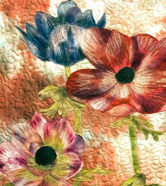 Hand painted fabric art quilt - Anemones