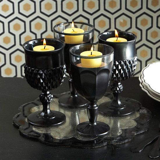 Spray paint thrift store goblets for candle holders in any color