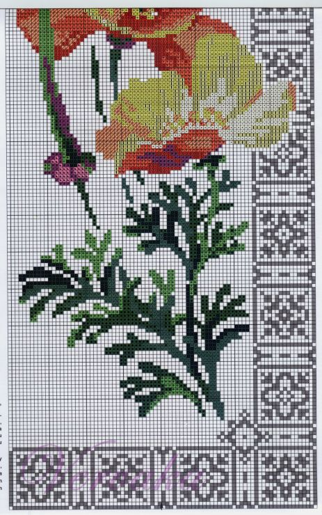 Cross stitch - flowers: California poppies (free pattern - chart - part D)