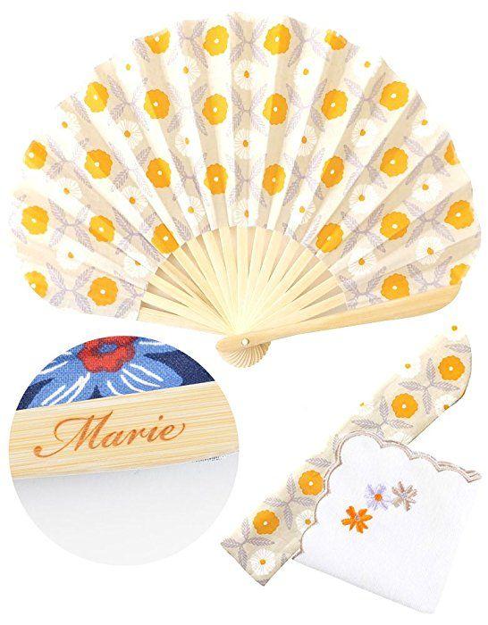オレンジ F JACK PORT(ジャックポート) ギフト に最適 名入れ プレゼント 袋付き 扇子 & ハンカチ ギフトセット 暑さ 熱中症 対策 レディース メンズ 浴衣 着物 和装 祭り きもの うちわ 女性 両親 名前 ネーム イニシャル 刻印 記念品 手作り お祝い JK122074010809