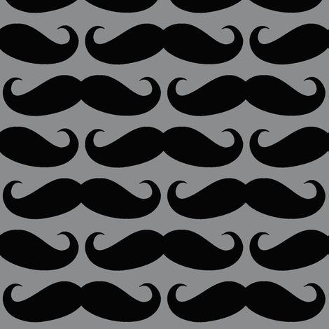 Black on Gray Mustache fabric by cutencomfy on Spoonflower - custom fabric