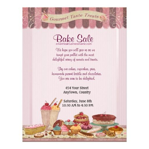 Cupcake, Cakes and Treats Bake Sale Flyer full of fun detail and ready for you to customize with your text.