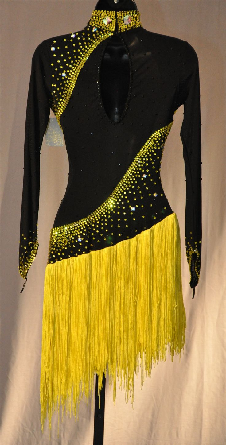 Black with yellow Latin dress