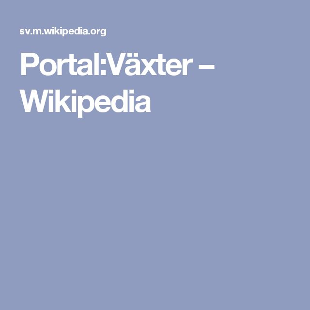 Portal:Växter – Wikipedia