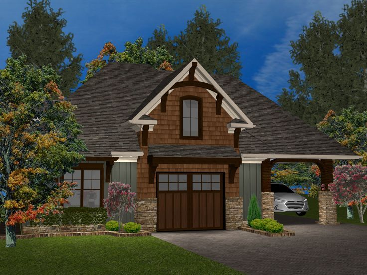 049g 0001 1 Car Garage Apartment Plan With Craftsman Flair Carriage House Plans Craftsman House Plans Craftsman House