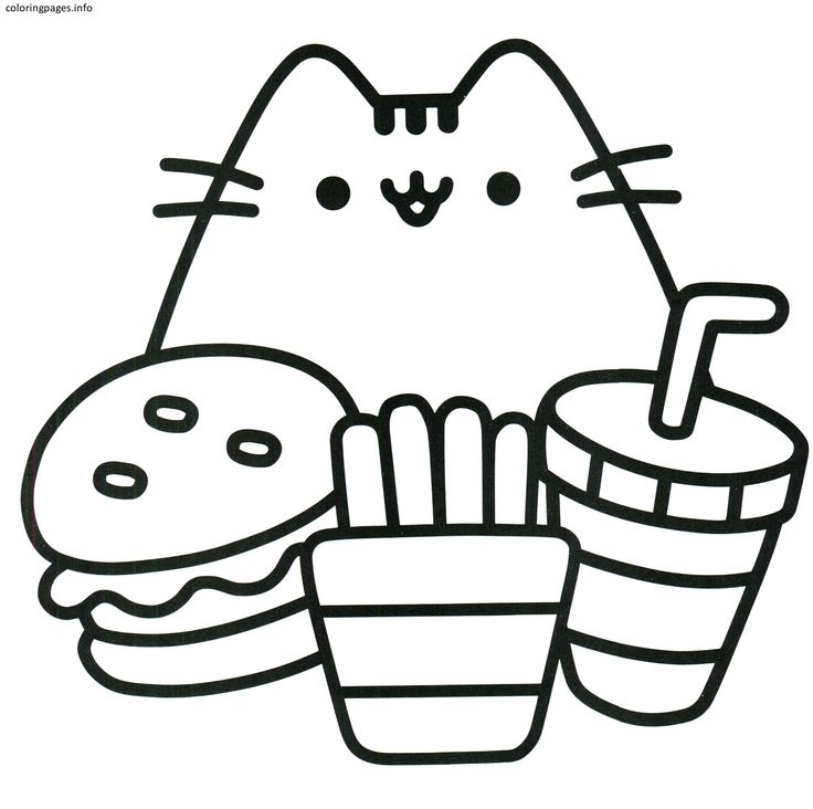 kawaii pusheen cat coloring pages