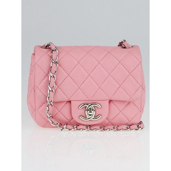 be88d5912 Pre-owned Chanel Pink Quilted Lambskin Leather Classic Mini Flap Bag  ($1,795) ❤ liked on Polyvore featuring bags, handbags, pink handbags, pink  crossbody ...