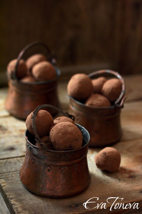 I'm loving the texture of the nuts, copper tins and the rustic wood table.