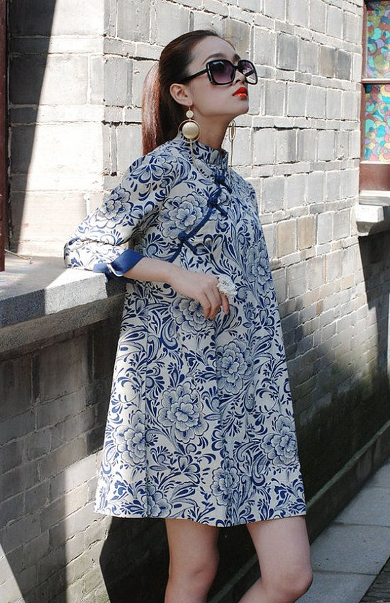 Blue and white porcelain printing dress linen tunic by TDJasmine