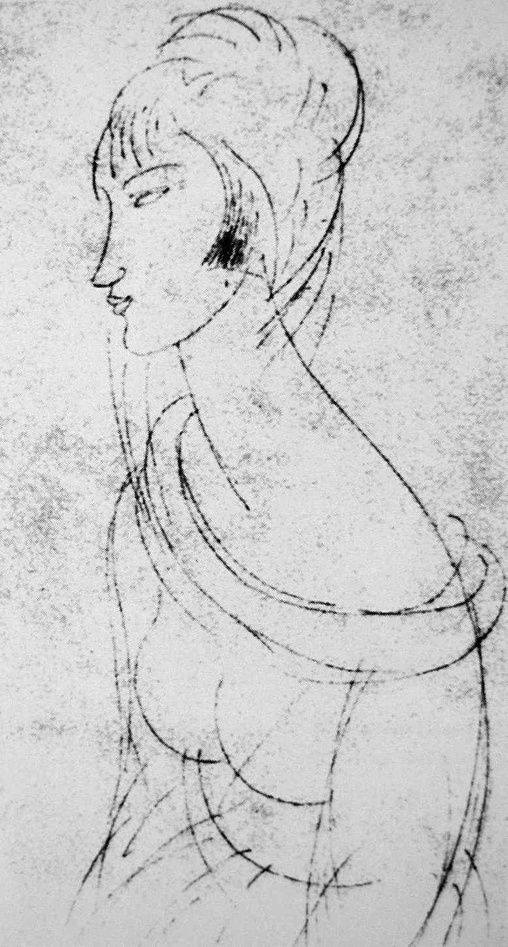 modigliani drawings - Google Search Schetch di Jeanne '' {{Creator: Amedeo Modigliani}}.