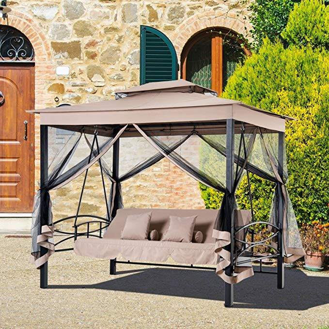 Outsunny 3 Person Outdoor Patio Daybed Canopy Gazebo Swing With
