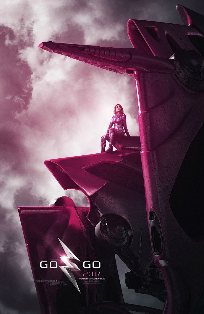 power rangers 2017 movie poster pink zord New Power Rangers Posters Feature the Rangers Zords