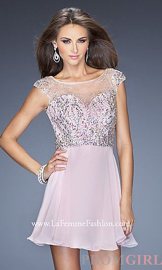 Open Back Short La Femme Dress at PromGirl.com