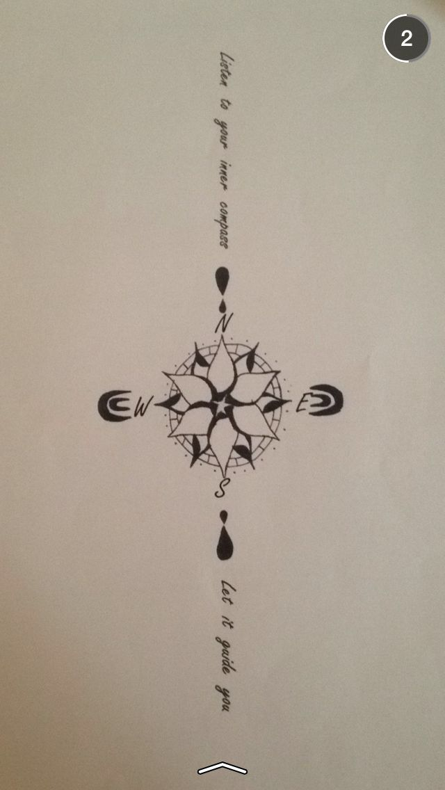 So I have been trying to find a tattoo I want for ages and have (nearly) settled with something. This is a compass with a lotus flower inside to symbolise eternity, purity, divinity, and life. The writing says 'Listen to your inner compass, let it guide you'. Around the compass is the mindfulness symbol to help focus of the here and now! This has a lot of meaning for me and the more I think about it the more I love it!!!