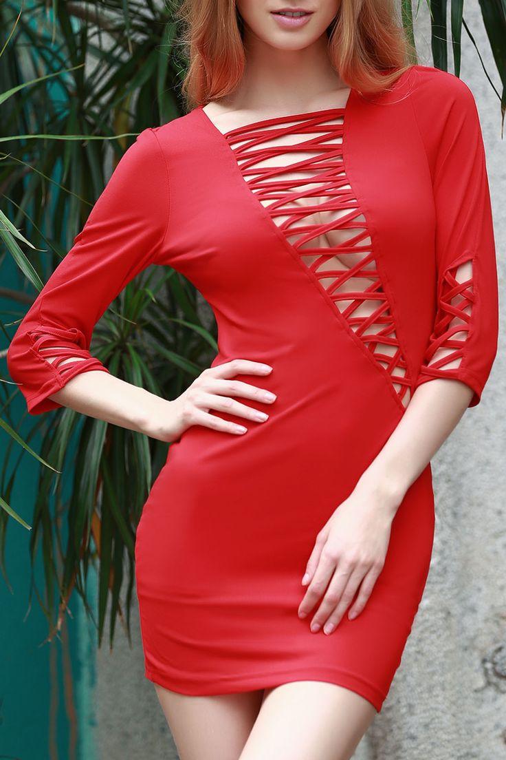 Lace-Up Bias Cut Bodycon Dress