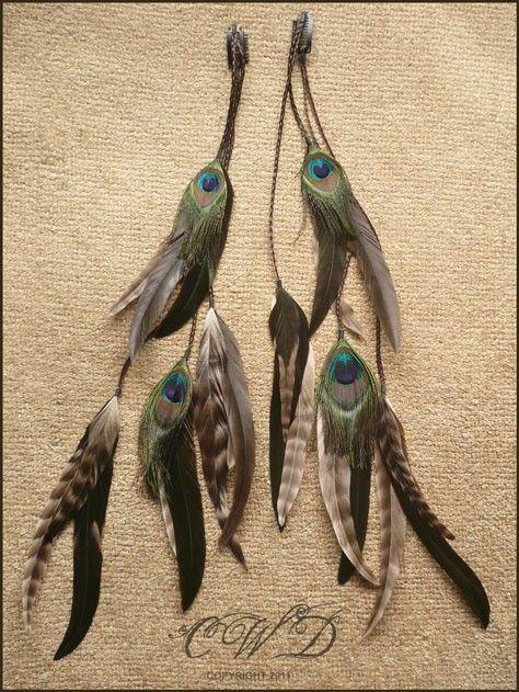 Une paire de cheveux extension longue plume clips sur tresses - CUSTOM MADE