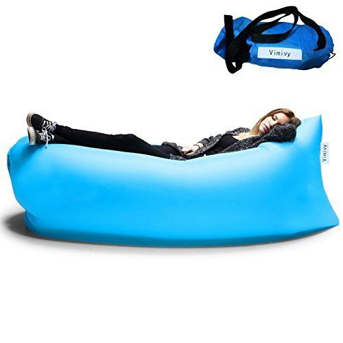Inflatable Outdoor Air Sleep Sofa Couch Portable Furniture Sleeping Hangout Lounger Imitate Nylon External Internal PVC for Summer Camping Beach (Black)