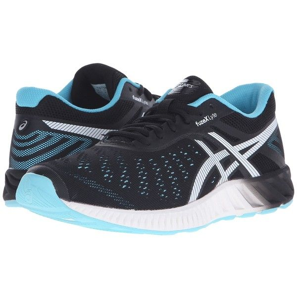 ASICS FuzeX Lyte (Onyx/White/Turquoise) Women's Running Shoes ($76) ❤ liked on Polyvore featuring shoes, athletic shoes, athletic running shoes, white running shoes, lightweight running shoes, turquoise shoes and white lace up shoes