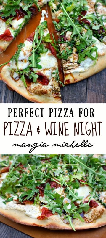 Pizza and wine night just got better with this perfect pizza that has fresh ricotta, mozzarella, prosciutto, arugula and mission fig balsamic vinegar.