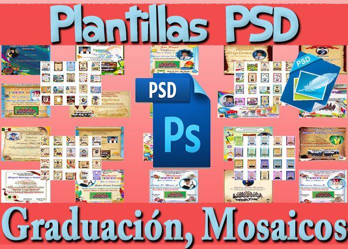 Plantillas+PSD+Graduación+Diplomas+Mosaicos+Fototarjetas+Maqueta