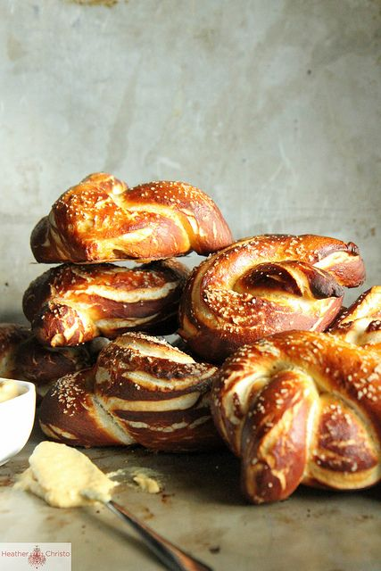 Soft Pretzels with Sweet and Spicy Onion Mustard @Heather Christo. Goodness, these are pretty.