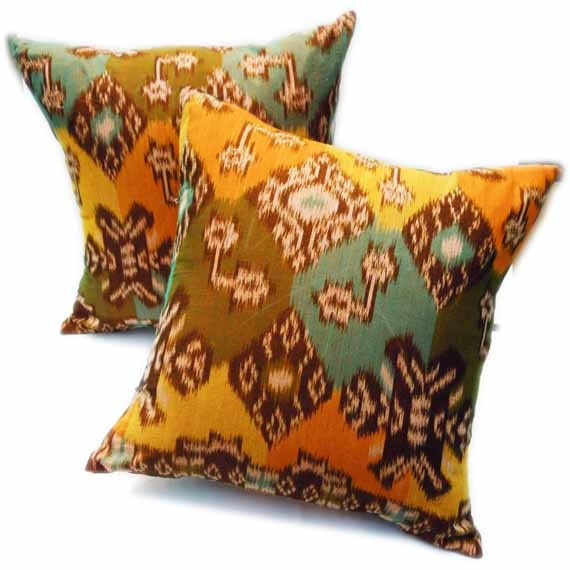 Authentic Ikat Pillow Yellow Green Pillow ETHNIC by ethnicromance