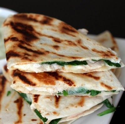 Chicken, Spinach, & Goat Cheese Quesadillas with Avocado Sour Cream