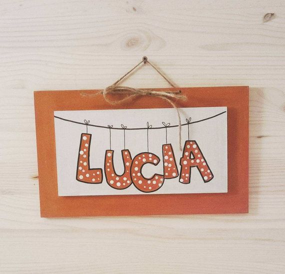 LUCIA orange painting white painting Children's by bluepeppertime