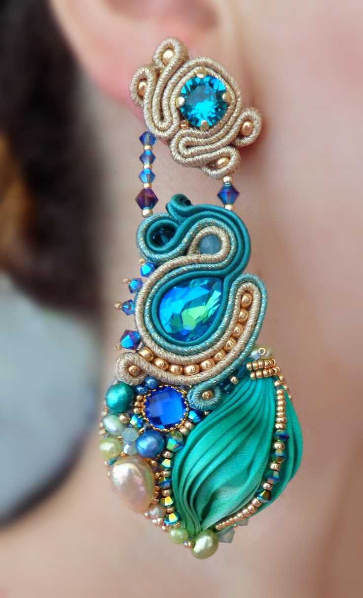 Designed by Serena Di Mercione - Soutache, bead embroidery. --- Shibori silk ribbon, Swarovski, pearls