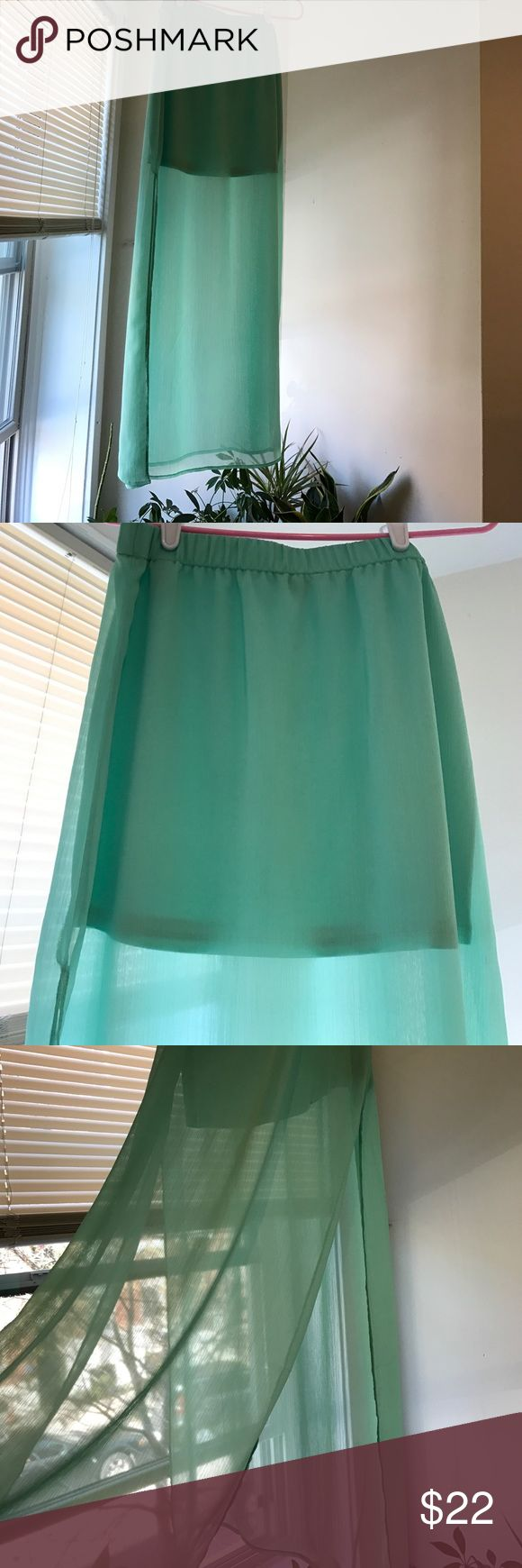 Sheer Maxi Skirt Express Maxi Skirt. Mint/Sea foam color. Sheer overlay with slits on both sides. Pairs nicely with a solid white or black tank top. Express Skirts Maxi
