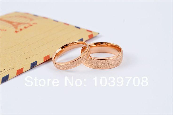 2014 мода из розового золота блестящий перл песок нержавеющей стали 316L пара кольца любителей матовое перста кольца ювелирные изделия