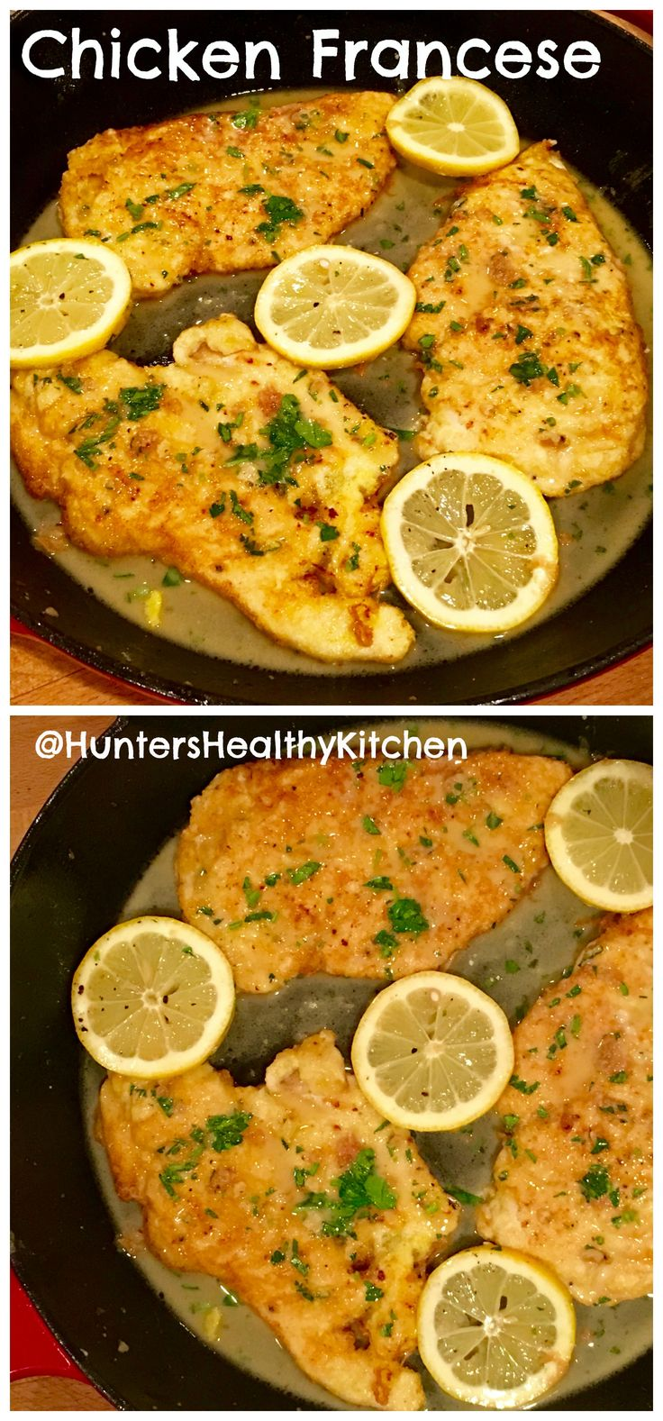 Lemony Italian Chicken Francese with fresh parsley. This is a quick and easy week night recipe that packs big flavor! ~No Wine Necessary See the recipe | Hunters Healthy Kitchen | #ChickenFrancese #LemonChicken