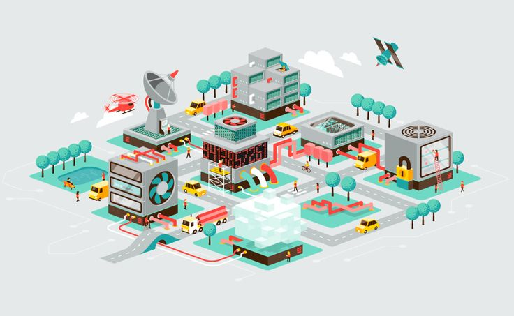 We always enjoy working on detailed isometric designs. So we were very pleased when a Dutch webhosting company asked us to make a big set of isometric illustrations.
