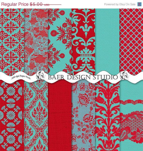 ON SALE Shabby ChicTurquoise and Red DAMASK by BaerDesignStudio, $4.50