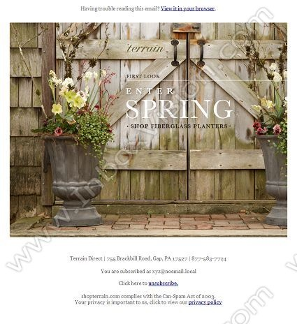 Company:  Terrain Subject:  Enter Spring.                INBOXVISION providing email design ideas and email marketing intelligence.    www.inboxvision.com/blog/  #EmailMarketing #DigitalMarketing #EmailDesign #EmailTemplate #InboxVision  #SocialMedia #EmailNewsletters